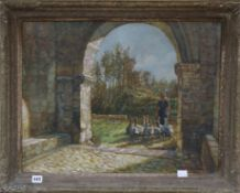 George Claeys (Belgian 1876-1966), oil on canvas, Goose girl entering an archway, signed, 48 x 62cm