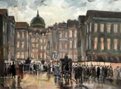 Franciscus Willem Helfferich (1871-1941)oil on canvasQueuing for the Operasigned11.5 x 15.5in.