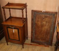 A Victorian inlaid coal purdonium and an Indian folding occasional table