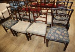 A harlequin set of ten George III mahogany ladderback dining chairs, with upholstered seats and