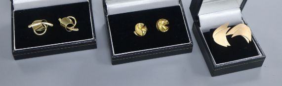 Two pairs of 18ct gold earrings and a pair of 9ct gold earrings.