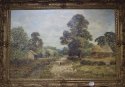 Late 19th century English School, oil on canvas, Mother and child in a farm landscape, 50 x 75cm