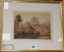 David Cox Senior (1783-1859), watercolour, Hastings Church circa 1810