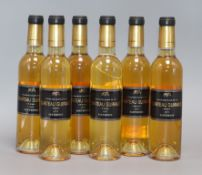 Six half bottles of Chateau Guiraud, Sauternes, 2005