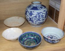 A Chinese blue and white vase and four bowls height 21cm