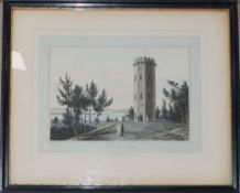 18th century English School, coloured engraving, The Prospect of the Town of Elgine, 26 x 42cm and