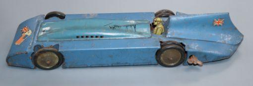 A Betal Production clockwork tinplate Bluebird, c.1940 length 40cm
