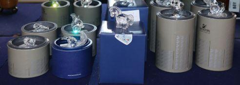 Ten small Swarovski crystal animals, boxed