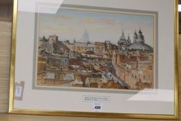 Charles Ernest Cundall (1890-1971), Rome from the Pincian Hill, signed, watercolour