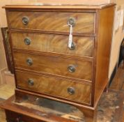 A small mahogany four drawer chest W.62cm