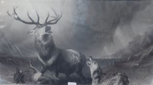 Thomas Landseer after Edwin Landseer, engraving, 'The stag at bay', 1865, overall 68 x 106cm,