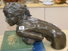 A contemporary resin filled bronze of a girl width 40cm approx,