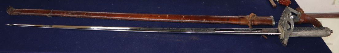 A George V Scots Guards officer's dress sword, which belonged to Major W. L. Greenlees, see