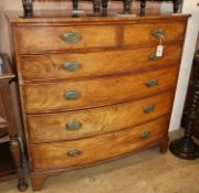 A Regency mahogany bowfront chest W.118cm
