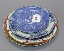 Five Chinese and Japanese dishes or plates largest diameter 26cm