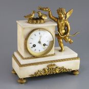 A 19th century French ormolu and white marble mantel clock, surmounted with Cupid and two doves,