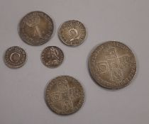 Charles II silver penny 1677, NVF, Queen Anne 4d, F, George II penny 1731, VF, sixpence 1757 NVF,