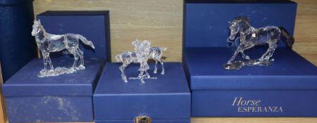 Three Swarovski horse groups widest 19cm