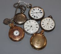 Six assorted pocket watches including silver pocket watch by Webster, London.