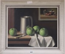 Neil Cawthorne, oil on canvas, Still life of apples and a pewter tankard, signed, 40 x 50cm
