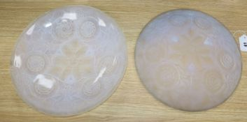 A pair of French moulded glass dishes diameter 31.5cm