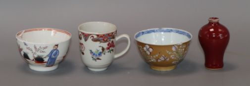Three Chinese cups and a sang-de-boeuf vase height 8cm