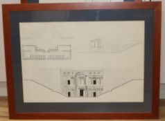 A set of fourteen architectural studies in ink, pencil and wash, probably early 20th century, in