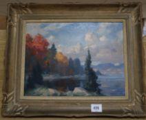 Eric Riordon (Canadian 1906-1948)oil on board'Autumn Day, Lac de l'Achigan'signed, Watson Art