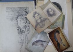 A folio of watercolours and drawings, and mixed oils and watercolours
