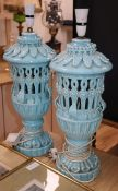 A pair of blue glazed lamps height 52cm