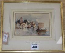Alfred Montague (1832-1883), Coastal town scene, watercolour