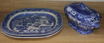 A Victorian blue and white tureen and two meat platters largest meat platter 43cm
