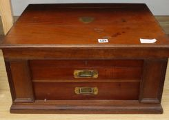 A Mappin and Webb walnut cutlery chest