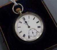 A cased Benson half hunter pocket watch