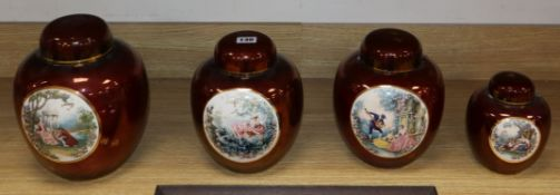 Four Carlton Ware Rouge Royale ginger jars and covers decorated with Fragonard-style scenes of