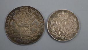 A silver sixpence 1790 Pattern by Droz, GEF and an England and Union of Scotland 1707 silver medal
