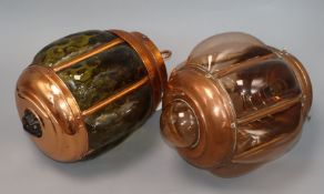 A copper mounted glass lantern and a copper plated lantern height 25cm