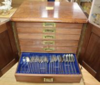 An extensive Victorian canteen of Albany pattern plated flatware, in a fitted mahogany box