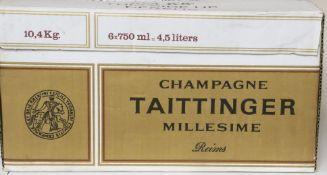A box of six bottles of Tattinger 1/1 Brut Millesime, 1990 champagne