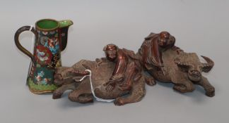 A pair of Chinese wood buffalo groups and a Japanese cloisonne enamel pot