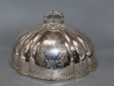 A Victorian plated meat dish cover length 36.5cm