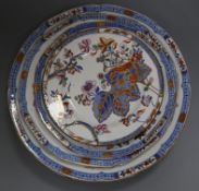 Five Spode stone china floral plates and a tobacco leaf plate, c.1820