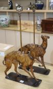 A pair of bronzed metal door stops in the form of hounds height 64.5cm