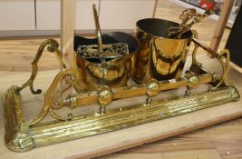 Victorian and later brass and copper, including a brass kerb, firescreen, copper coal helmet,