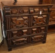 A 17th century style oak chest of drawers W.110cm