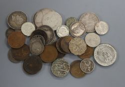 A group of Victoria farthings and UK silver coinage, Elizabeth I to George V