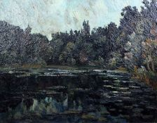 Pierre Dumont (French, 1884-1936)oil on canvasWoodland lakesigned29 x 36in.
