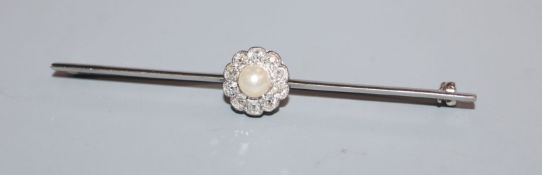 A white metal, cultured pearl and diamond set cluster bar brooch, 63mm.