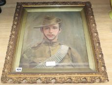 Dumayne, oil on canvas, Portrait of an Anzac Soldier, signed, 43 x 39cm