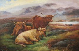Robert Cleminson (fl. 1864-1903)oil on canvasHighland cattle in a landscapesigned20 x 30in.